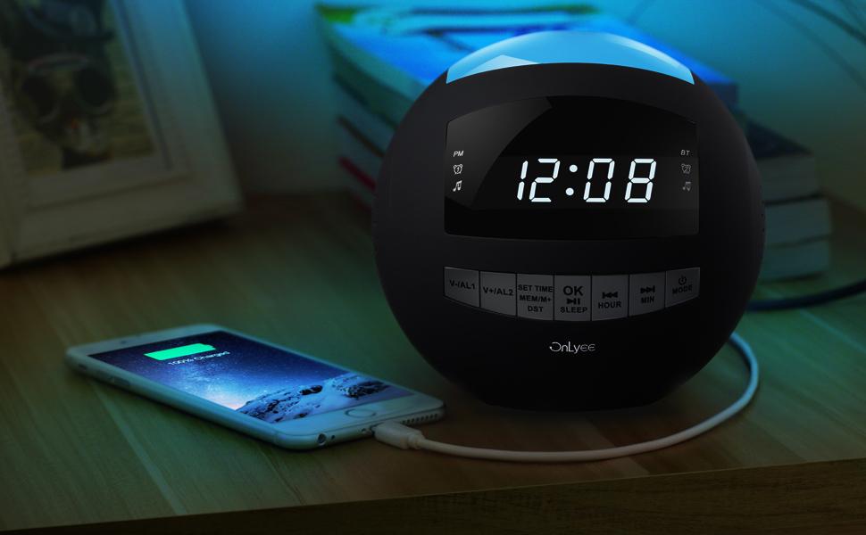 OnLyee Radio-despertador Digital con Ajuste de Brillo y Altavoz Bluetooth Inalámbrico con Radio FM,Altavoz,Doble Cargador USB,Luz LED de Noche ...