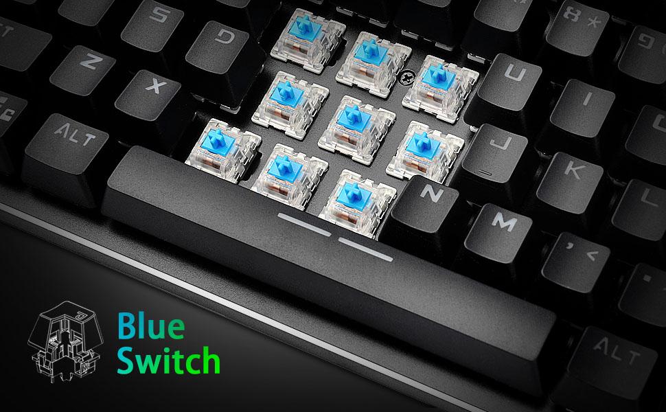 Teclado mecánico US Layout Mechanical Keyboard Blue Switches,Teclado para Juegos 9 LED Backlit, Placa metálica,Teclado 100 % Anti-ghosting
