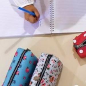 Estuche Escolar de Lápices com Cremallera de mmi - para Niñas, Estudantes, Adultos, y Professionales - Gran Capacidad - Algodón (Cool Denim Stripes): Amazon.es: Oficina y papelería