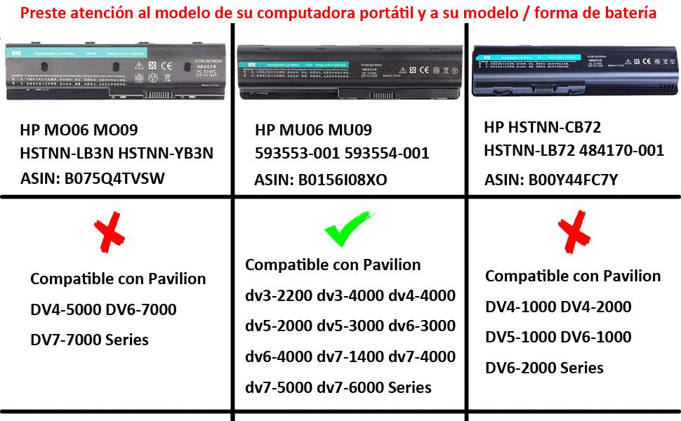 Dtk® Batería de Repuesto para Portátil Hp G32 G42 G62 G4 G6 G7 ...