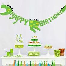 PartyWoo Globos 4 Piezas 3 Foil Globos Cumpleaños Dinosaurios & 1 Pancarta Feliz Cumpleaños Dinosaurios Globos de Helio Decoración Dinosaurios para ...