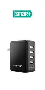 RAVPower Cargador Móvil con 3 Puertos USB (30W 5V/6A) Máxima ...
