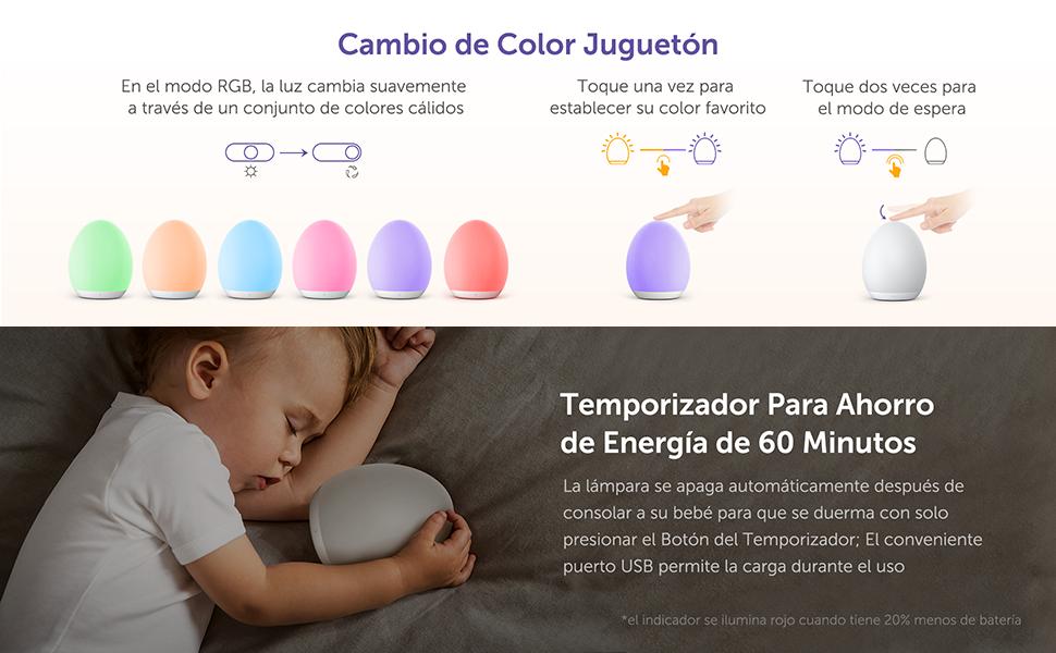 Luz Nocturna Infantil VAVA, Lámpara LED para Niños [Versión 2019], 8 Color Cambiante, Control Táctil, Temporizador, Función de Memoria, Modo Nocturna, ...