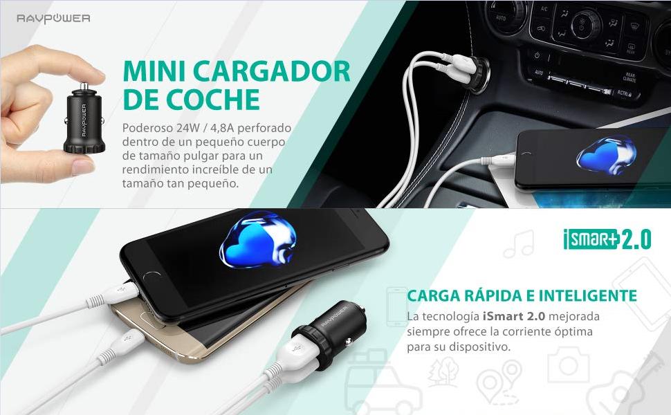 RAVPOWER Mini Cargador de Coche 24W 4,8A Aleación de Aluminio con ...