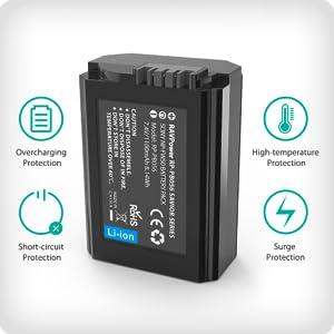 NP-FW50 Cargador Bateria Sony RAVPower 1100mAh de 2 Batería Recargable Compatible con Sony Alpha a6000 a6300 a6500 a6400 a51000 a5000 a7ii a7sii a7s ...