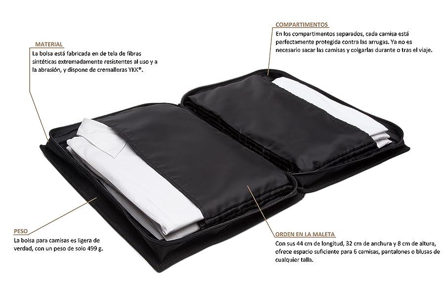 at-bags advanced travel bags - Camiseta básica, Negra, para 6 Camisas