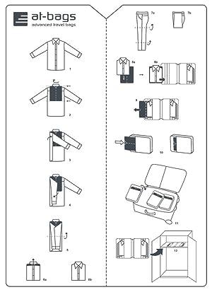 at-bags advanced travel bags Alta-Falta - Orden en la Maleta Gracias a la Tabla Auxiliar para Doblar Ropa y Camisas - Paquete de 2 Piezas