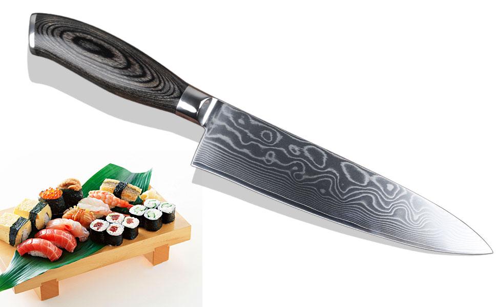 YARENH Cuchillos de Cocina 20cm,Cuchillos Masterchef Profesionales de Acero de japoneses Damasco,Mango de Madera Pakka,Cuchillo de Chef Ultra Filoso ...