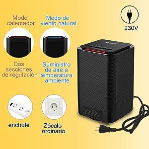 KEYNICE Mini Calefactor de Espacio Personal, Calentador Eléctrico Portátil Máquina de Calentamiento Rápido con 3 Ajustes Estufa para el Hogar/Oficina ...