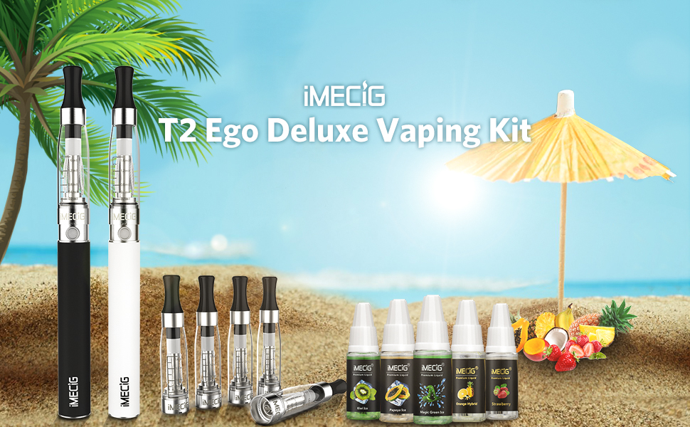 IMECIG Cigarrillo Electronico Complete Pluma Vape 2*1100mAh Bater¨ªa Recargabla + 5*10ml Liquido Vaper +5 *1.6ml Atomizador Cigarros Electronicos Sin ...