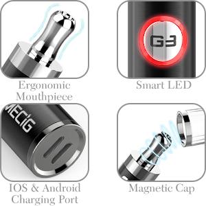 IMECIG® G3 Cigarrillo Electrónico Kit de Inicio con Tapa Antipolvo Magnética Vape Pen Recargable del E-Cigarrillo con USB y Apple Puerto de Batería ...