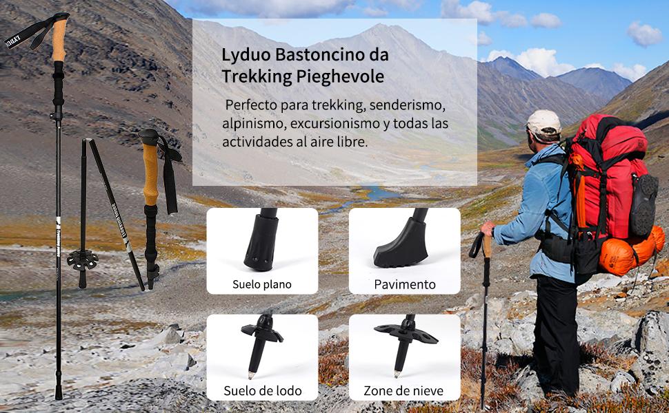 Viajes de Mochilero Senderismo Caminar LYDUO Bastones de Senderismo Plegable Bastones Marcha Nordica Telescopico Legable Y Ajustable Viajar