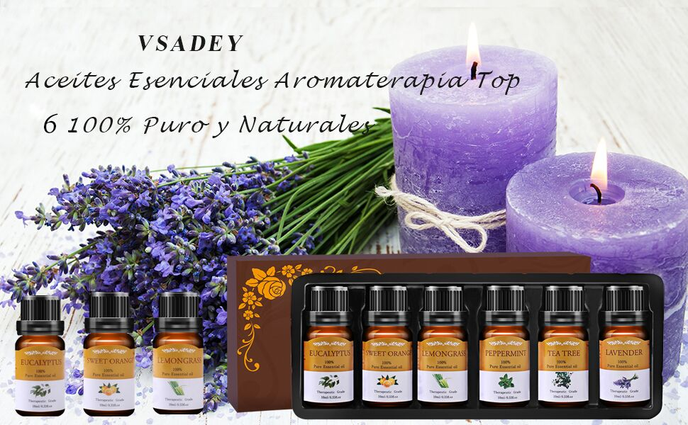 VSADEY Aceites Esenciales Aromaterapia Humidificador Essential Oils Set 6 x 10ml