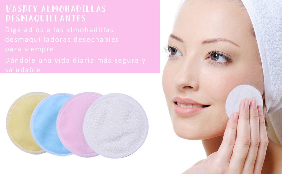 VSADEY 16Pcs Almohadillas Desmaquillantes Reutilizables Discos Desmaquillantes de Bambú y Algodón