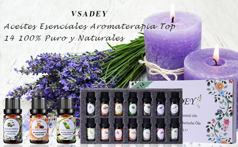 VSADEY Aceites Esenciales Aromaterapia Top 14 Aceites para Humidificador 100% Puro y Naturales