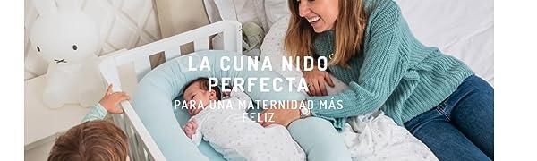 Cuna Nido Colecho Bebé Algodón Orgánico Petite Marmotte. Desenfundable y Hecho en España. (Conejitos)