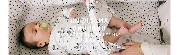 Pijama Anudado Recién Nacido. Pijama Saco de Algodón Orgánico. (Ojitos): Amazon.es: Ropa y accesorios