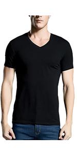 Hombres Manga Larga//Corta Camiseta fornida Ajustado Casual Algod/ón Cuello Pico Camisetas B/ásicas