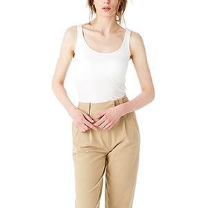 Estilo básico y suave color sólido,puede coincidir con cualquier pantalón perfectamente. Mujer Camiseta con Sujetador