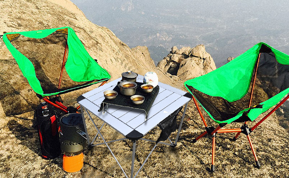 GEERTOP Mesa Plegable Acampada 53x53 cm Mesa Portátil de Aluminio ...