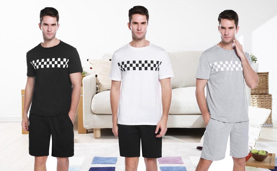 iClosam Pijama Hombre Verano Algodón Corto Casual, Camiseta y Pantalones Cortos Moda y Cómodo Ropa de Dormir Set: Amazon.es: Ropa y accesorios