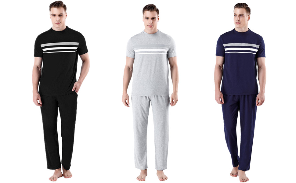 Pijama Manga Cortos Raya,Conjunto de Pijama Camiseta y Pantalones Moda Comodo Ropa de Dormir para Hombre iClosam Pijama Hombre Verano Corto Set