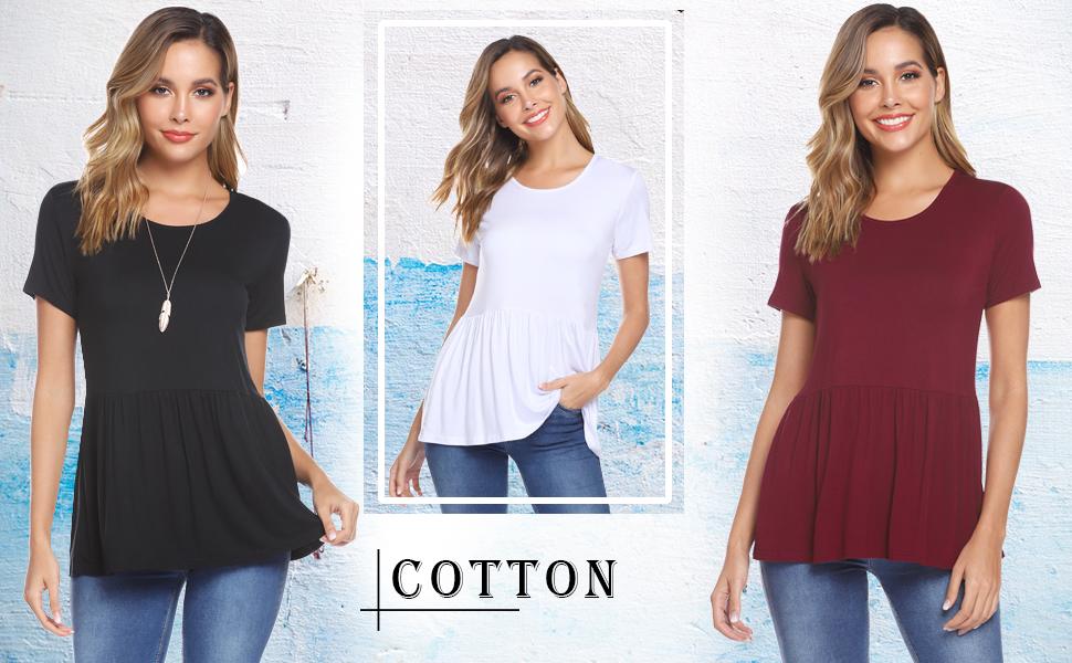 iClosam Tops Mujer Camiseta Manga Corta de algodón con Volantes ...