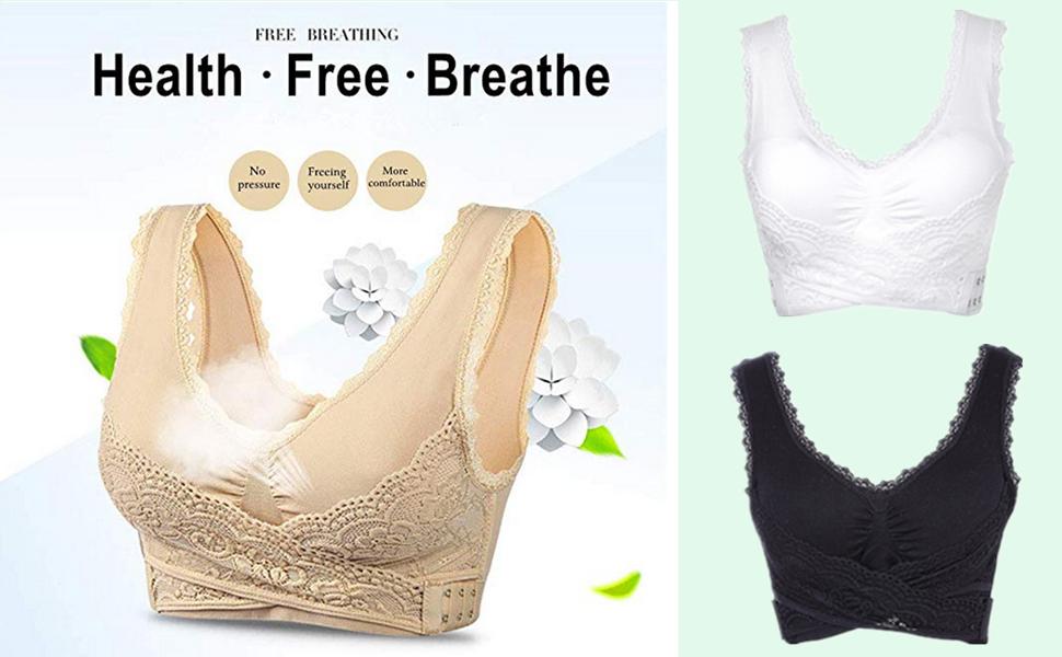 iClosam Sujetador Deportivo Encaje Mujer(1/2/3pack) Bra con Almohadillas Extraíbles para Yoga/Fitness/Ejercicio/USA de Diaria