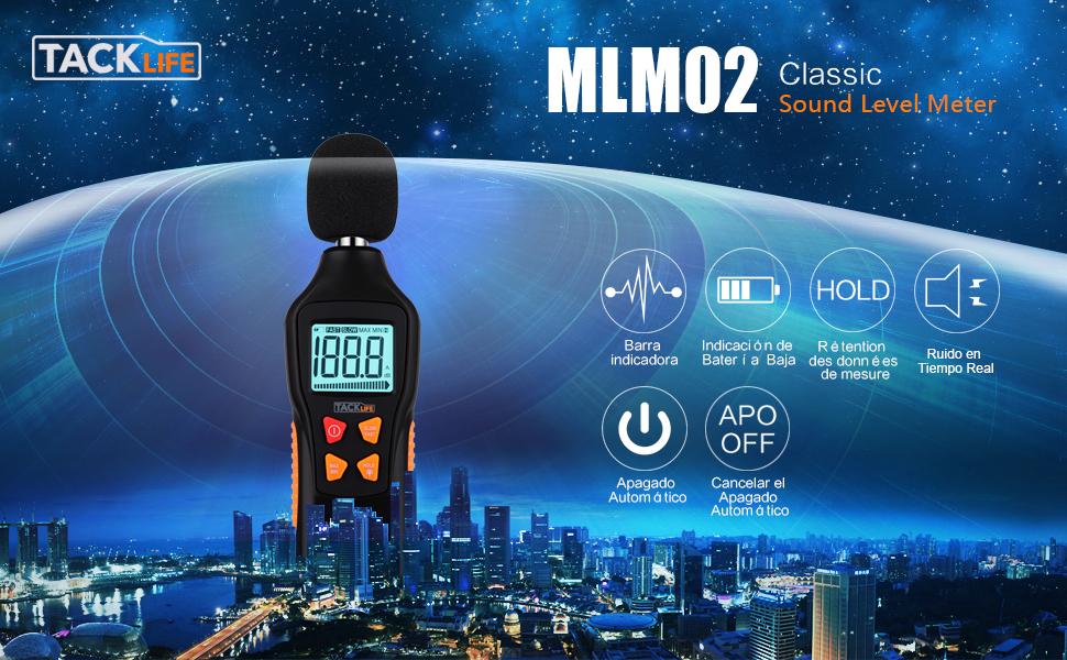 TACKLIFE MLM02 30-130dB Medidor de Sonido con LCD Retroiluminada y Linterna