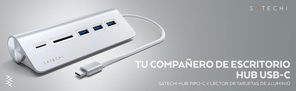 SATECHI Hub USB Tipo-C y Lector de Tarjetas Micro/SD de Aluminio Compatible con iMac, MacBook Pro, DELL Serie XPS, Lenovo Yoga y Muchos más (Plata)