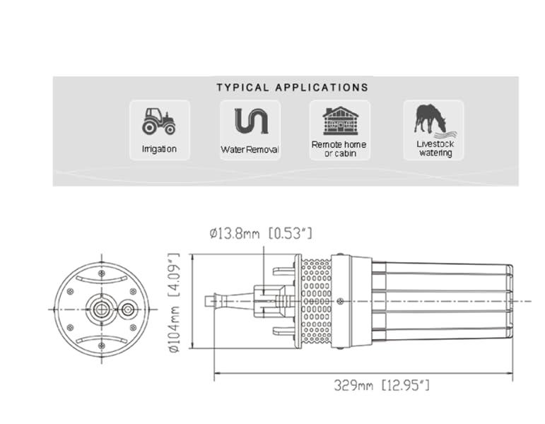 Paquete incluido: Bomba de agua solar del pozo de 1pcs 24V DC