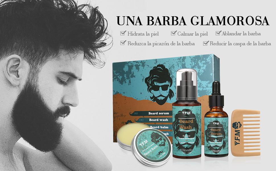 Kit Cuidado de Barba Y.F.M - Champú, Sérum, Bálsamo, Peine - Regalo ...