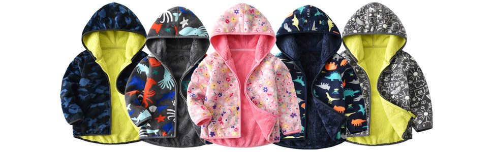 Vine Niños Chaquetas polar Reversible Abrigos con Capucha Fleece Chaquetas Deportivas