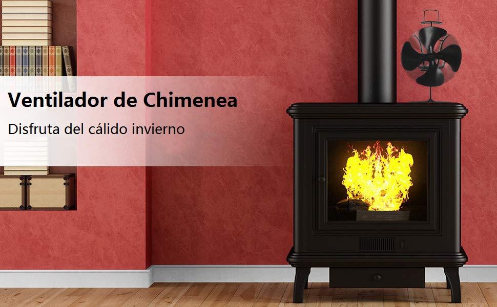 COSTWAY Ventilador Estufa de 4 Palas Ventilador de Chimenea de ...