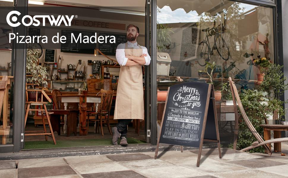 COSTWAY Pizarra de Pie de Madera Caballete Pizarra Vintage de Doble Carra Plegable 100x65x65cm Cafetería PublicitarioTablero Mensaje para Tienda ...