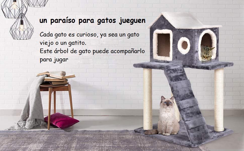 COSTWAY Árbol para Gatos Juguete Cama 60 x 45 x 88 cm ...