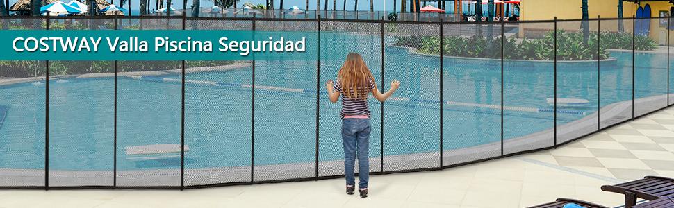 COSTWAY Valla de Seguridad para Piscina 366x122cm Barrera ...