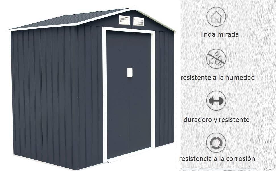 COSTWAY Cobertizo de Jardín con Base Metálica con Puerta 213x127x185cm Exterior Caseta de Jardín Herramienta Almacenamiento: Amazon.es: Jardín