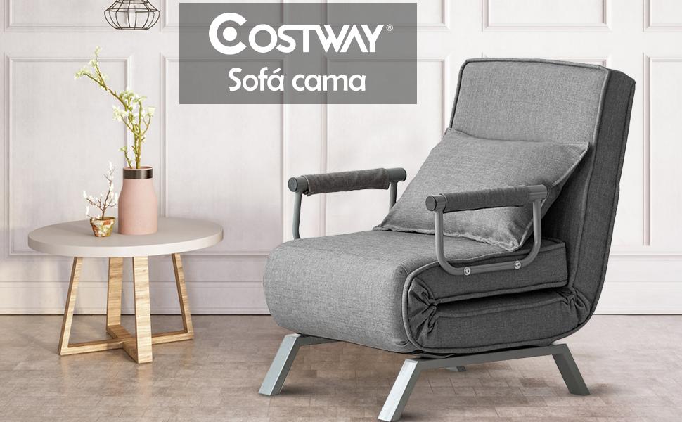 COSTWAY Sofá Cama Plegable Individual Silla Sillón Ajustable Tumbona con Colchón para Oficina Balcón Jardín (Gris)