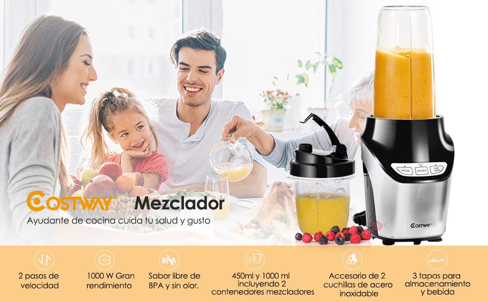 COSTWAY Licuadoras Para Verduras y Frutas Batidora de Cocina ...