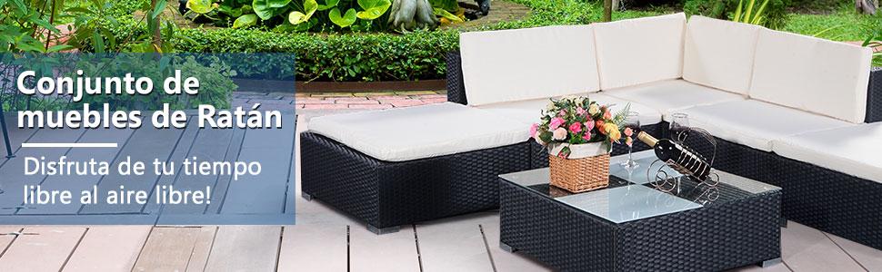COSTWAY Conjunto Muebles de Ratán para Jardín Terraza para ...