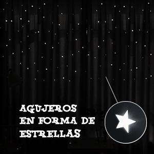 PONY DANCE Cortinas Opacas Azul Infantiles Niño Bebe Estrellas Mosquiteras/Paneles Termicas Aislantes para Ventanas Pequeñas Decoracion Hogar, 2 ...