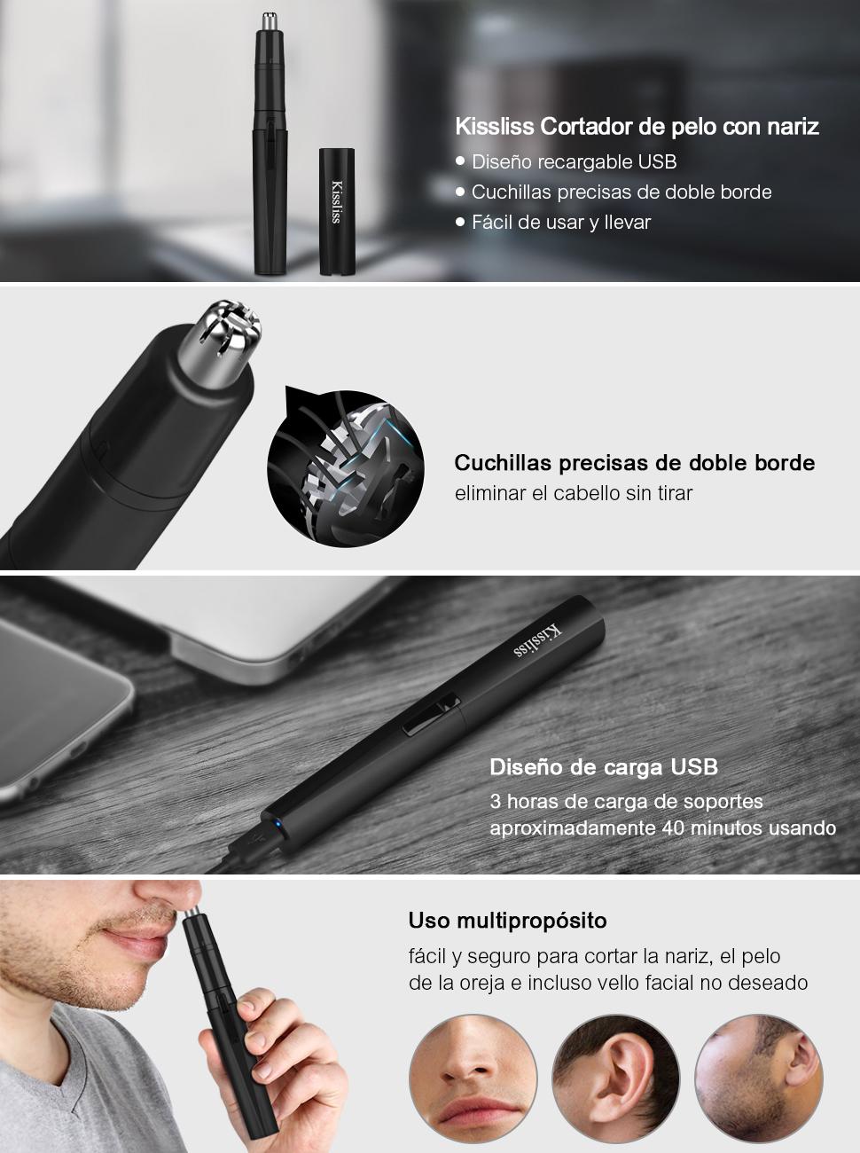 Kissliss Cortapelos de Nariz y Orejas USB Carga Recortador Nasal ...