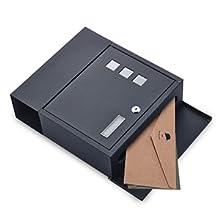 BONADE Buzón para Cartas y Correo Postal de Color Negro Buzón de Exterior 305 x 100 x 340 mm