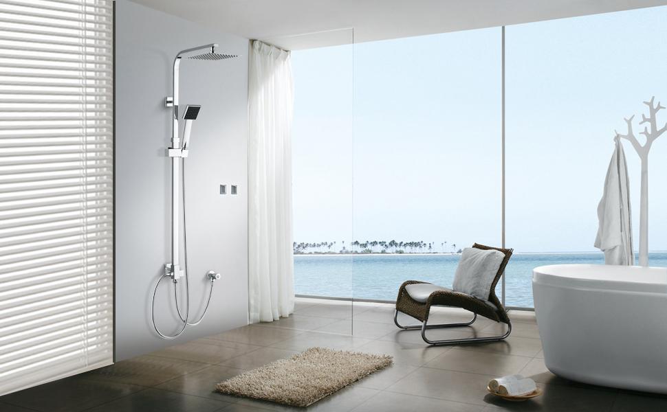 WOOHSE Sistema de ducha con barra adjustable de ducha de mano y ...