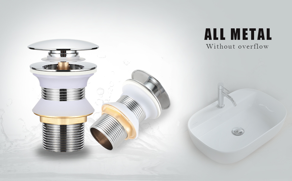 incluye 2 juntas BONADE Desag/üe universal sin rebosadero G1-1//4 con v/álvula de lat/ón para lavabo