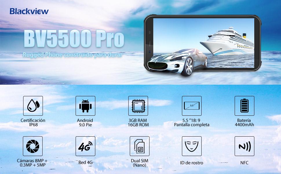"9 16gb18 5 Bv5500 2cm 4g Resistentes3gb Robusto2019Blackview Pro SimAndroid Dual 0 Teléfono 5""15 Pie 9 Pantalla Telefonos SUzMpV"