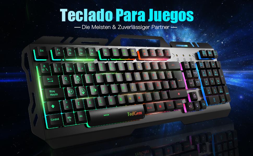 Teclados Gaming, TedGem Teclado Gaming, Teclado USB, Teclado Gaming PS4 LED Retroiluminado con Cable USB, Teclado para PC / Laptop / PS4 / Xbox One ...