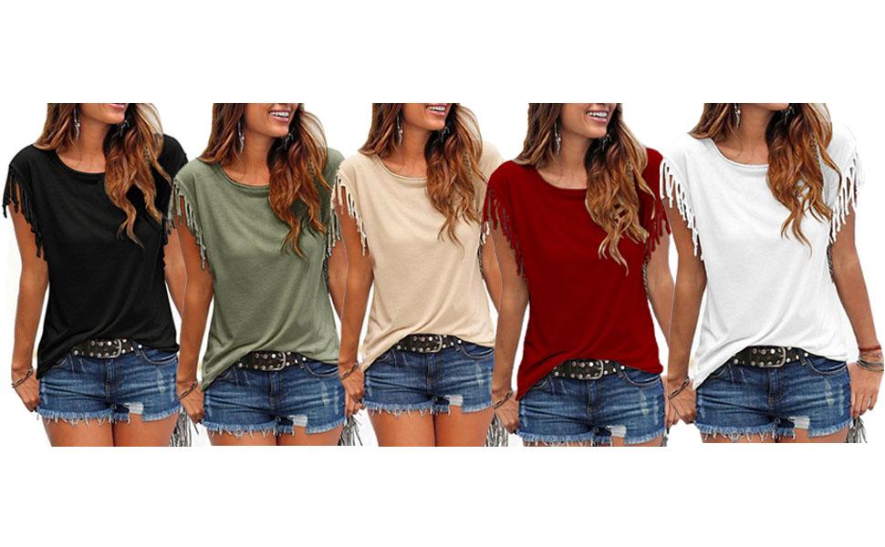 Camiseta Mujer Manga Corta Talla Grande Verano Casual con Flecos Borlas Algodón Cuello Redondo T Shirt Top