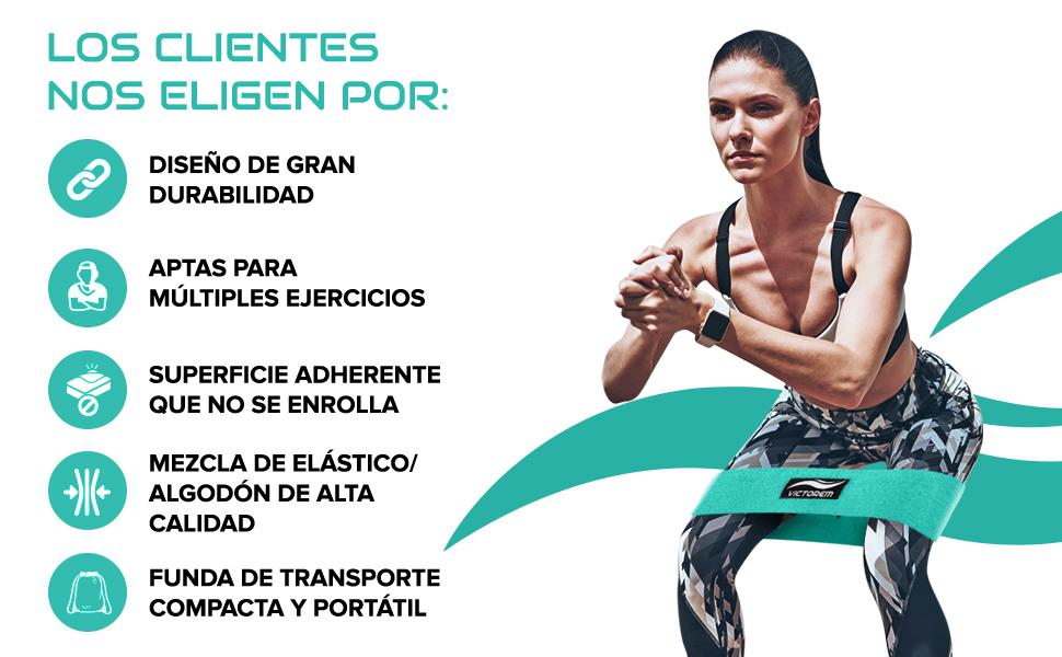 Victorem Bandas de Ejercicios de Resistencia para glúteos, piernas y Caderas